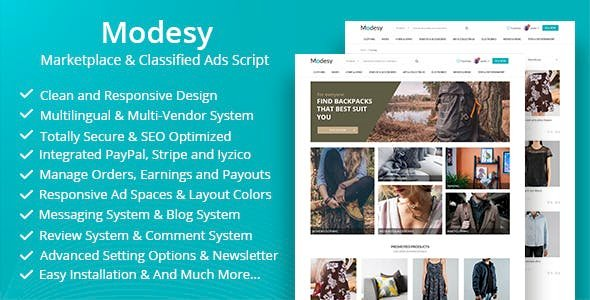 Modesy v1.6 - Marketplace & Classified Ads Script