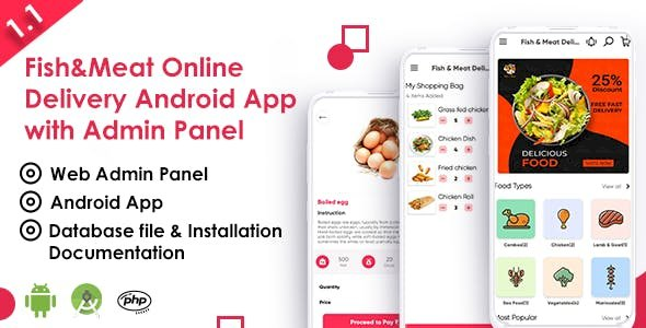 Fish And Meat v1.1 - Online Delivery Android App with Interactive Admin Panel