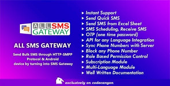 All SMS Gateway v2.1 - Send Bulk SMS through HTTP-SMPP Protocol & Android phone by Turning into Gateway