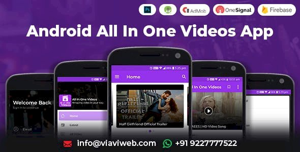 Android All In One Videos App v1.8 (DailyMotion,Vimeo,Youtube,Server Videos, Admob with GDPR)