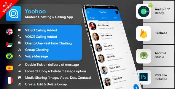 YooHoov7.0 - Android Chatting App with Voice/Video Calls, Voice messages + Groups -Firebase Complete App