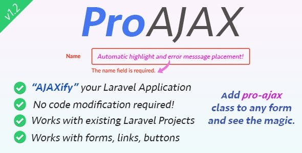 ProAjax v1.3 - Automatically Ajaxify Your Laravel Application