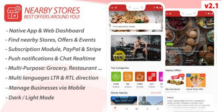 Nearby Stores Android v2.1 - Offers, Events, Multi-Purpose, Restaurant, Market - Subscription & WEB Panel