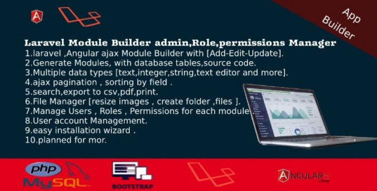 Dashboard Builder v3.5 - CRUD, Users, Roles, Permission, Files Manager, Invoices