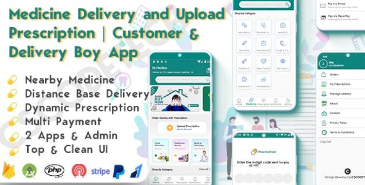 DrMedico v1.2 - On Demand Pharmacy Delivery with Medicine Delivery and Upload Prescription App with 2 Apps & Admin