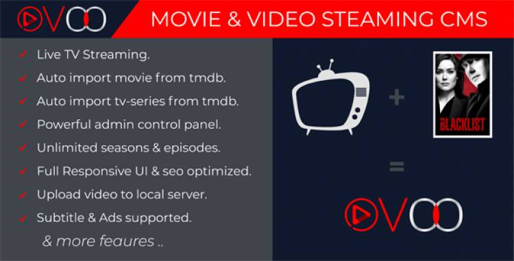 OVOO v2.5.5 - Movie & Video Streaming CMS with Unlimited TV-Series