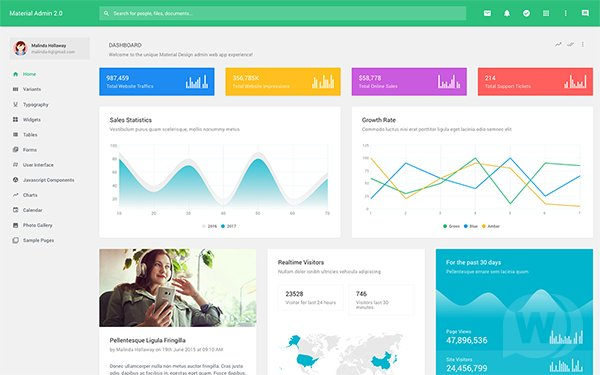 Material Admin v2.6 - Bootstrap admin panel template in Material Design style